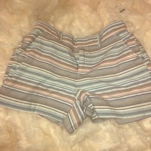 Gap shorts with blue white and peach stripes.
